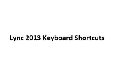 Lync 2013 Keyboard Shortcuts